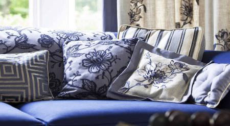 Prestigious Textiles -  New England Fabric Collection - Matching throws and cushions in blue - striped, floral and geometric patterns