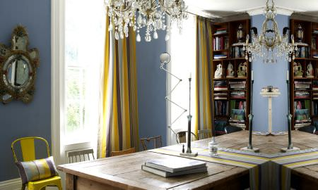 Prestigious Textiles -  Nouveau Fabric Collection - Sunny study with bold striped curtains in grey and yellow, matching striped cushion