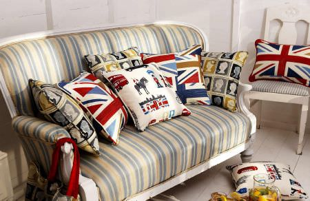 Prestigious Textiles -  Novelty Fabric Collection - Patriotic seating area - union Jack and London landmark themed cushions