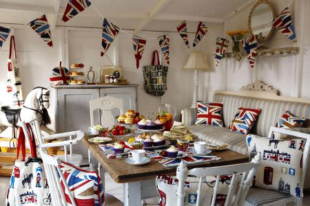 Prestigious Textiles -  Novelty Fabric Collection - Union Jack kitchen - Union Jack themed cushions and table mats, London landmark design cushions and aprons from Novelty Fabric Collection