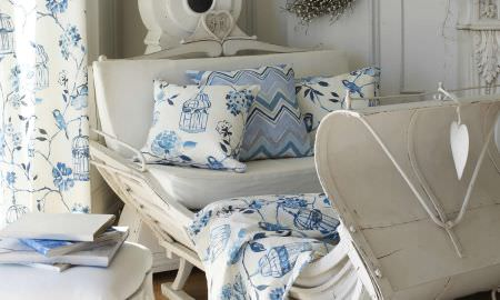 Prestigious Textiles -  Orient Fabric Collection - Orient collection zigzag and floral blue and white cushions, floral design blue and white floor length curtains