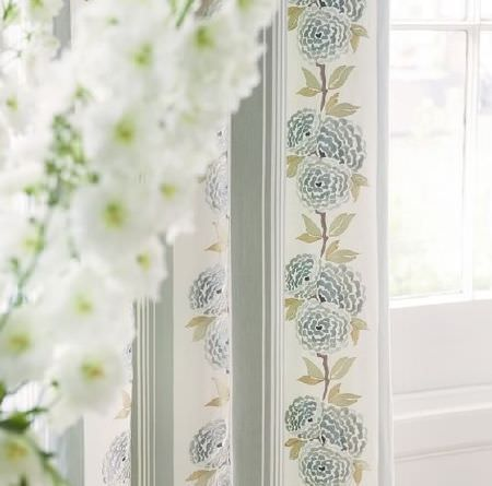 Prestigious Textiles -  Pemberley Fabric Collection - Pale duck egg blue and cream striped curtains, with a blue and green floral vine pattern running down the centre of each wide cream stripe