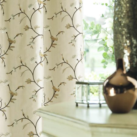 Prestigious Textiles -  Peony Gardens Fabric Collection - An oyster white curtain with classic light brown, white and silver flower and leaf pattern from the Peony Gardens fabric collection