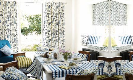 Prestigious Textiles -  Potting Shed Fabric Collection - Modern patterns mix and match - greens and blues - curtains, Roman blinds, cushions, tablecloths from The Potting Shed Collection