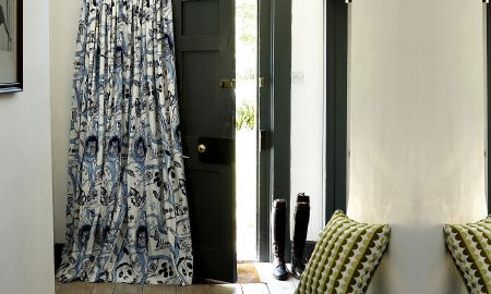 Prestigious Textiles -  Potting Shed Fabric Collection - Large print white and blue floral curtain from the Potting Shed Fabric Collection