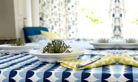 Prestigious Textiles -  Potting Shed Fabric Collection - Striking light and dark blue spotted fabric tablecloth