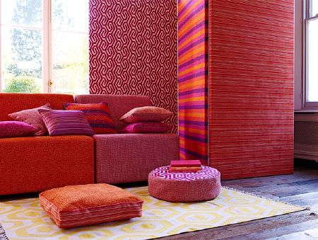 Prestigious Textiles -  Rocco Fabric Collection - Vivid pink, purple, coral and orange striped and patterned seats, wall coverings, round and square floor and scatter cushions