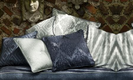 Prestigious Textiles -  San Marco Fabric Collection - San Marco Collection cushion selection in silver and navy blue