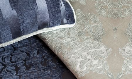 Prestigious Textiles -  San Marco Fabric Collection - San Marco Fabric Collection samples, navy blue and silver