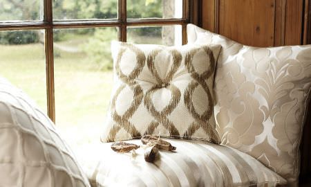 Prestigious Textiles -  Skandic Fabric Collection - cream cushions in various designs - striped, geometric shapes