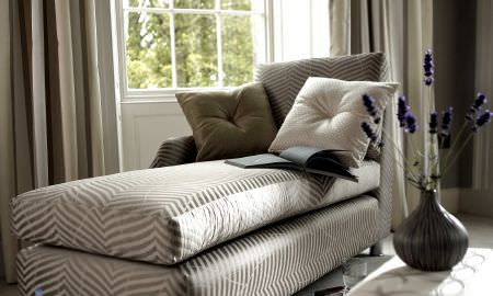 Prestigious Textiles -  Skandic Fabric Collection - Striped cream and tan daybed with matching block coloured cushions and striped floor length curtains