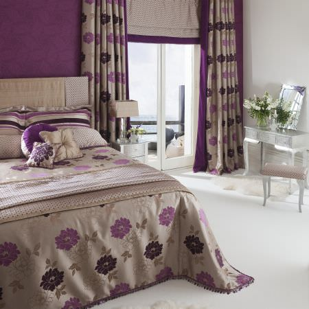 Prestigious Textiles -  Tivoli Gardens Fabric Collection - Sandy coloured duvet withpurple and black flowers and beaded edges, striped pillows, sandy curtains with purple and black classical flowers