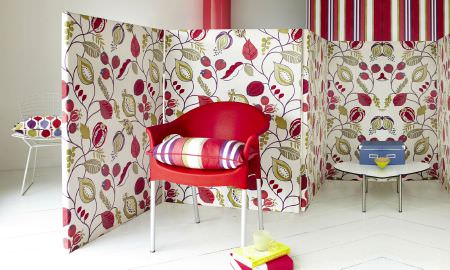 Prestigious Textiles -  Zest Fabric Collection - Zest Fabric Collection leaf motif room divider in green, red and white, striped chair cushion in matching colours
