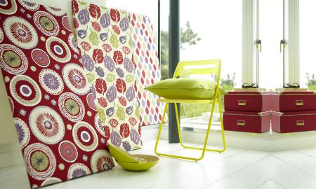 Prestigious Textiles -  Zest Fabric Collection - Bright and colourful mood boards in circular pattern, leaf motif and diamond design - red, green, white, purple