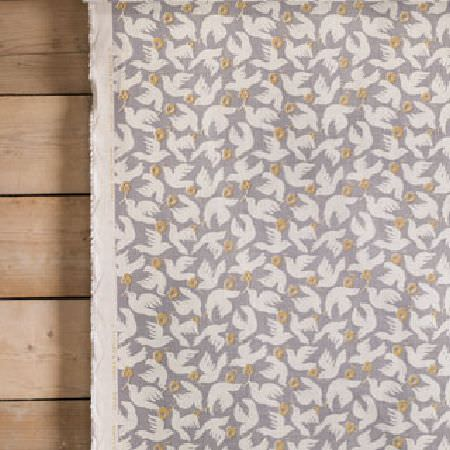 Rapture and Wright -  Rapture and Wright Collection - White doves printed on light grey and beige fabric, hanging in front of plain light wood panels