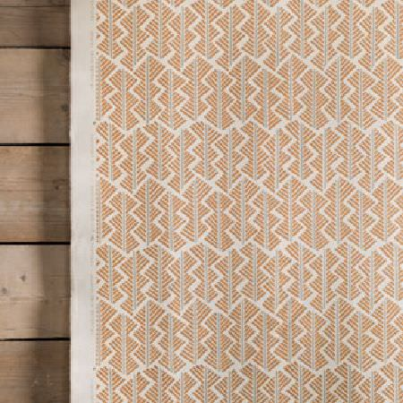 Rapture and Wright -  Rapture and Wright Collection - Light grey and orange geometric shapes printed on white fabric, hanging in front of panels made from plain wood