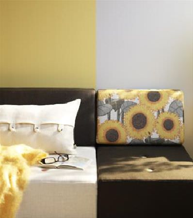 Sandberg -  Elin Fabric Collection - Sofa with a cream block and a black block for the base, a black block and a sunflower print block for the back, and a cream scatter cushion