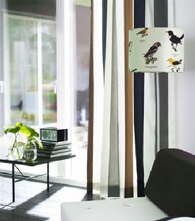 Sandberg -  Elin Fabric Collection - Floor lamp with round bird print lampshade, with striped curtains, black and white chair, black coffee table and two glass vases