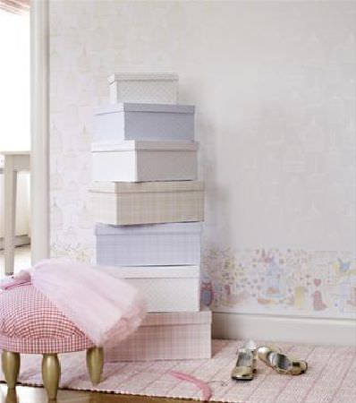 Sandberg -  Engla And Elliot Fabric Collection - Stack of six shoebox style storage boxes in plain white and blue, or blue, beige and pink checks, with a small stool covered in pink gingham