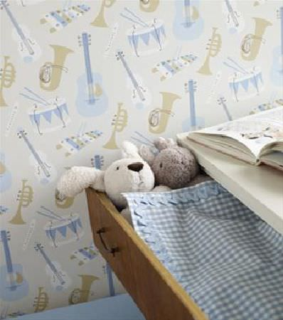 Sandberg -  Engla And Elliot Fabric Collection - White and brown wood chest of drawers with blue and white checked fabric edged in blue ric rac, beside a musical instrument print background