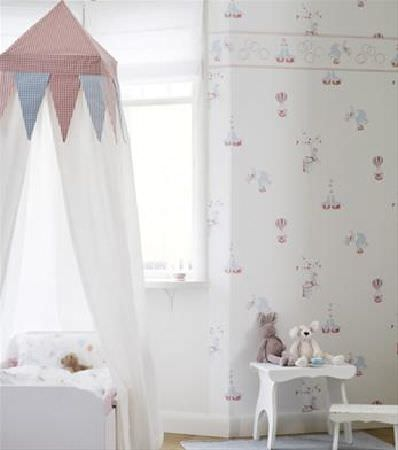 Sandberg -  Engla And Elliot Fabric Collection - Pale coloured circus print wallpaper, with a blue, red and white circus tent style canopy over a white child