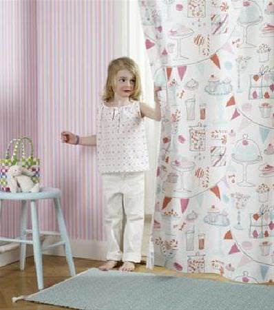 Sandberg -  Engla And Elliot Fabric Collection - Large curtain of white fabric featuring images of cakes, drinks, bunting and sweet jars, with a rectangular pale blue rug and pale blue stool