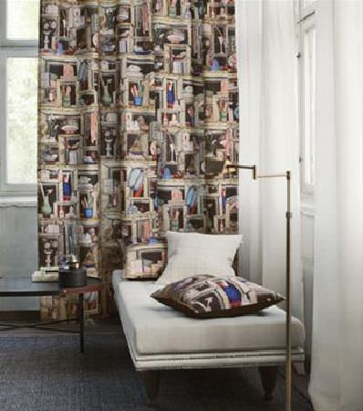 Sandberg -  Gotheborg Fabric Collection - Design of shelves with books, vases, bowls and more, printed onto curtains and a white chaise longue