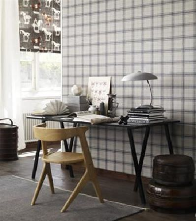 Sandberg -  Gotheborg Fabric Collection - Black desk with smoothly carved light wood chair, desk lamp with domed grey shade, and dark grey and white blinds with a horse print