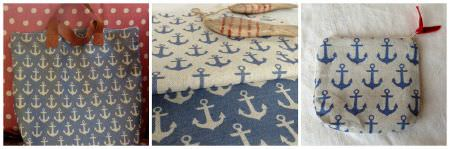 Sarah Hardaker -  Anchors Fabric Collection - Three photographs of nautical themed fabric, bags and purses made from blue and cream coloured fabrics with an anchor print