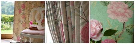 Sarah Hardaker -  Chinoiserie Fabric Collection - Pictures of 3 different floral fabrics, all with pink flowers, but one witha caramel coloured background, one on white, and one with green