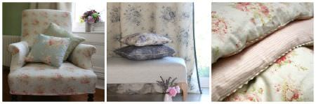 Sarah Hardaker -  Florence Fabric Collection - Three photographs with a variety of different floral fabrics made into a padded armchair, scatter cushions, curtains, a footstool and quilts