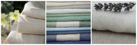 Sarah Hardaker -  Plain Vintage Linen Fabric Collection - Three photographs of stacks of fabrics, mostly cream colours and plain styles, but with some green and blue shades and stripes