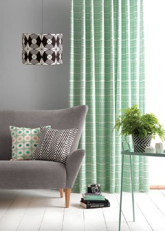 Sian Elin -  Sian Elin Fabric Collection - Modern light grey armchair featuring a plain design and modern cushions along with vibrant curtain