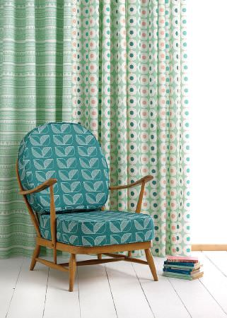 Sian Elin -  Sian Elin Fabric Collection - Mint green curtain featuring white tribal pattern and mint green curtain decorated with a pattern of circles