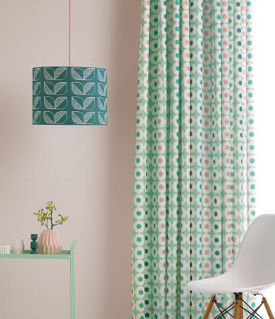 Sian Elin -  Sian Elin Fabric Collection - Modern curtain dyed in mint green decorated with a pattern of small colourful dots inside larger white dots