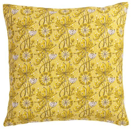 St Judes -  Angie Lewin Fabric Collection - Bright yellow square scatter cushion with simple black line drawings of dandelions printed on