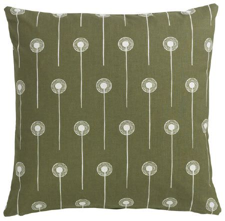 St Judes -  Angie Lewin Fabric Collection - Cushion in an Army green, with a repeated design of a white line with a series of concentric white circles at one end of each line
