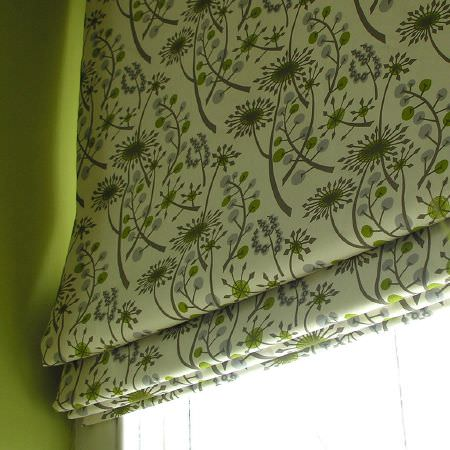 St Judes -  Angie Lewin Fabric Collection - Window blind in cream fabric with floral designs in shades of grey and lime green