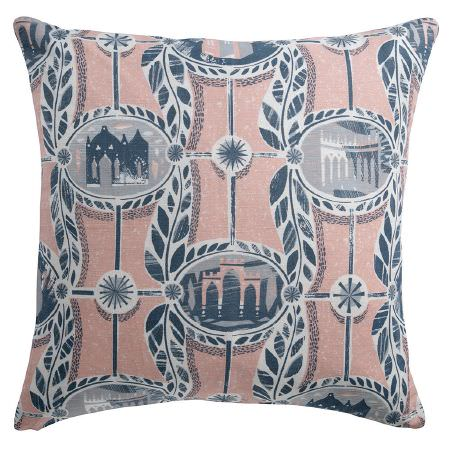 St Judes -  Ed Kluz Fabric Collection - Scatter cushion featuring blue and white buildings, ovals, leaves, lines and star shapes on a pale pink background