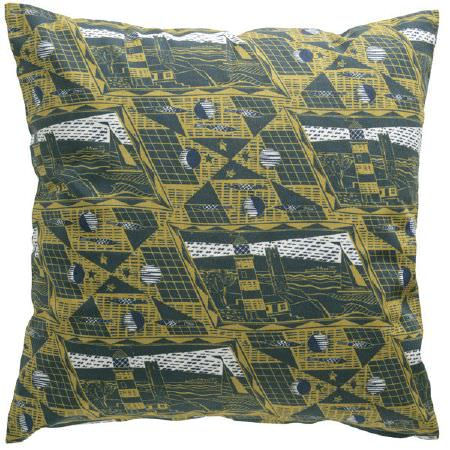 St Judes -  Jonathan Gibbs Fabric Collection - Cushion in white and two shades of green, with moons, stars, lighthouses, boats, the sea, and geometric shapes