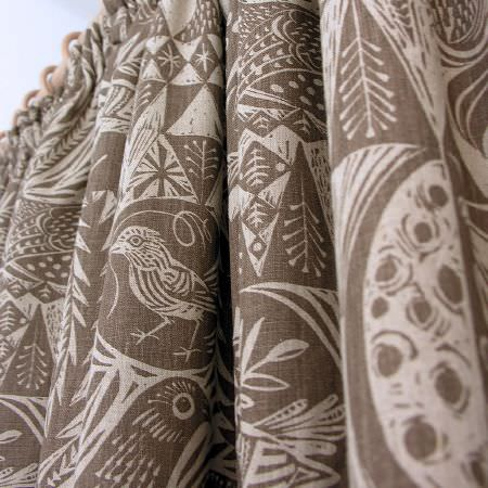St Judes -  Mark Hearld Fabric Collection - Curtains in brown and beige shades, with large designs of birds and leaves