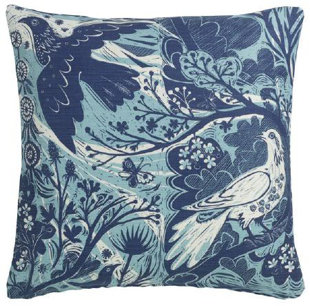 St Judes -  Mark Hearld Fabric Collection - White and blue birds, butterflies, flowers, leaves and branches printed on a square scatter cushion