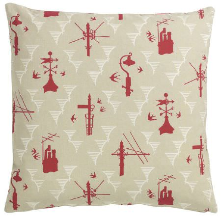 St Judes -  Old Town Fabric Collection - Cream fabric scatter cushion, with simple red images of the top of lampposts, telegraph posts, chimneys and weathervanes