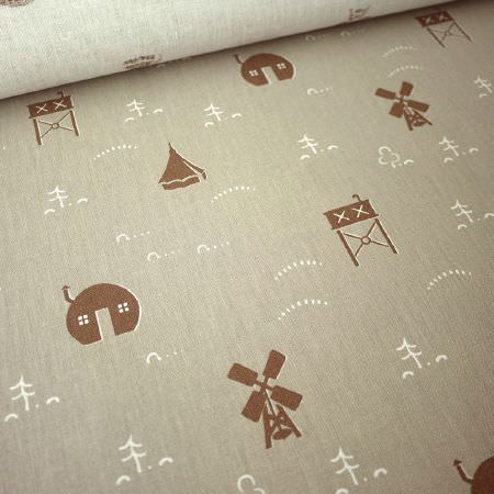 St Judes -  Old Town Fabric Collection - Grey fabric with small pictures of white trees and hills and brown houses, windmills, water towers and tents