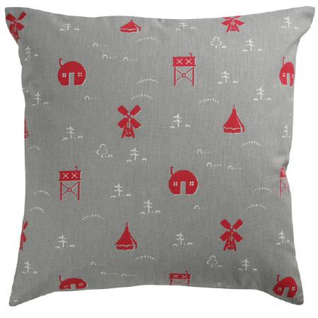 St Judes -  Old Town Fabric Collection - Scatter cushion in grey with tiny red houses, tents, windmills and water towers, and white trees, hills and dots
