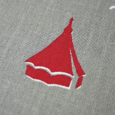 St Judes -  Old Town Fabric Collection - Red tent detail with white highlights on a grey fabric background