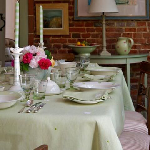 Susie Watson Designs -  Susie Watson Designs Fabric Collection - Summer dining, green tablecloth and napkins, pink and white stripe seat cushions