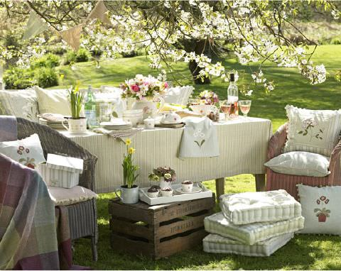 Susie Watson Designs -  Susie Watson Designs Fabric Collection - Sunny yellow striped tablecloth with cushions in pastels with embroidered flowers.Striped fabric box.