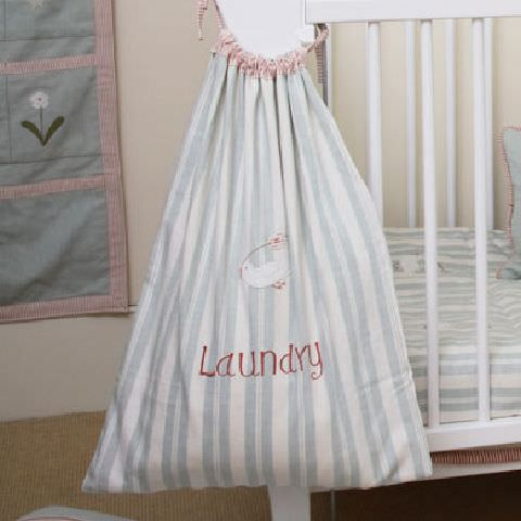 Susie Watson Designs -  Susie Watson Designs Fabric Collection - Laundry bag in blue and white stripes with pink ruffled edging and ties, embroidered with pink lettering and a motif.
