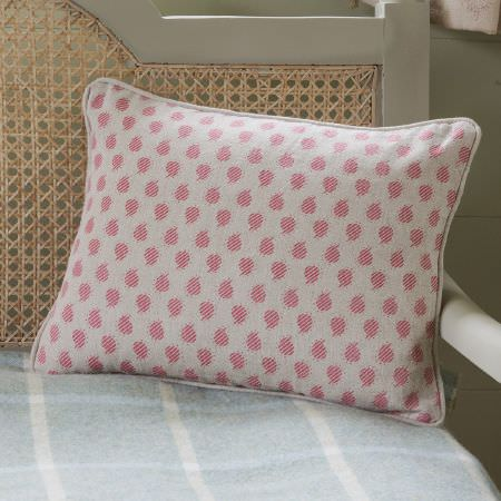 Susie Watson Designs -  Susie Watson Designs Fabric Collection - White wood chair with a wicker backrest, a pale blue and white checked seat, and a pink and white dotted scatter cushion